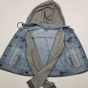 American Eagle Outfitters Jackets & Coats - American Eagle Jean Jacket Combo Hooded Small